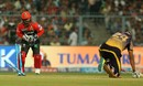 Yusuf Pathan was stumped by Kedar Jadhav down the leg side, Kolkata Knight Riders v Royal Challengers Bangalore, IPL 2017, Kolkata, April 23, 2017