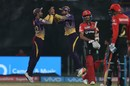 Kolkata Knight Riders' players celebrate a comprehensive win, Kolkata Knight Riders v Royal Challengers Bangalore, IPL 2017, Kolkata, April 23, 2017