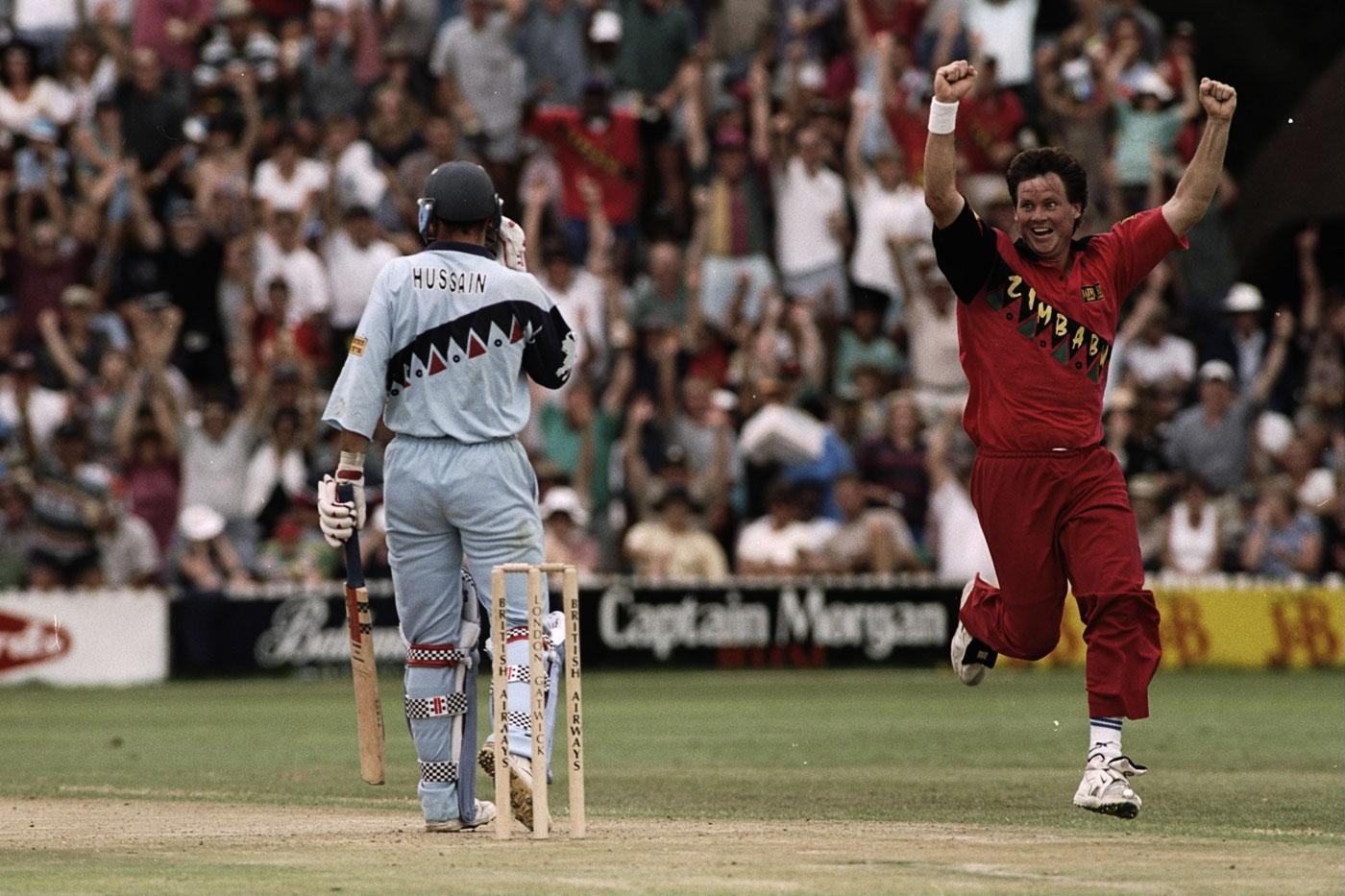 Brandes celebrates his hat-trick wicket - Nasser Hussain - in Harare, 1997