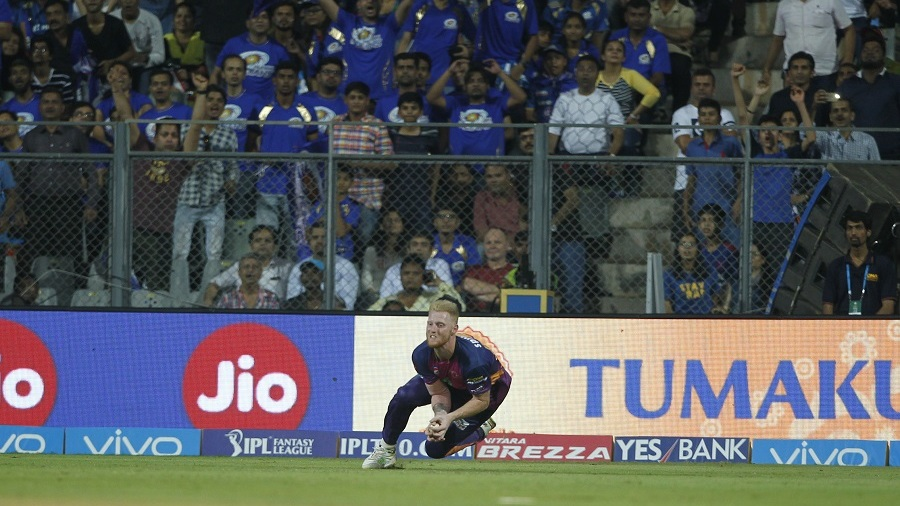Ben Stokes takes a catch to send back Hardik Pandya