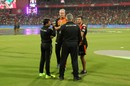 Sunrisers Hyderabad coach Tom Moody and assistant coach Simon Helmot speak to the umpires, Royal Challengers Bangalore v Sunrisers Hyderabad, IPL 2017, Bengaluru, April 25, 2017