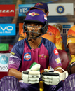 Ajinkya Rahane looks on while waiting in the dugout, Kolkata Knight Riders v Rising Pune Supergiant, IPL 2017, Pune, April 26, 2017