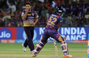Piyush Chawla gives Rahul Tripathi a send-off, Kolkata Knight Riders v Rising Pune Supergiant, IPL 2017, Pune, April 26, 2017