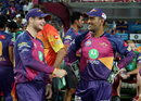 Steven Smith and MS Dhoni share a moment by the dugout,  Kolkata Knight Riders v Rising Pune Supergiant, IPL 2017, Pune, April 26, 2017