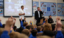School students ask Joe Root questions at Dore Primary School, Sheffield, April 26, 2017