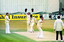 Eddie Hemmings appeals for Sanjay Manjrekar's wicket, England v India, 2nd Test, Old Trafford, 5th day, August 14, 1990