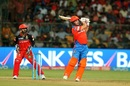 Aaron Finch looks on after smacking the ball for a six, Royal Challengers Bangalore v Gujarat Lions, IPL 2017, Bengaluru, April 27, 2017