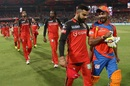 Virat Kohli and Ravindra Jadeja share a moment after the end of the match, Royal Challengers Bangalore v Gujarat Lions, IPL 2017, Bengaluru, April 27, 2017