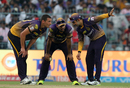 Nathan Coulter-Nile, Yusuf Pathan and Gautam Gambhir put their heads together to plot a Daredevils wickets, Kolkata Knight Riders v Delhi Daredevils, IPL 2017, Kolkata, April 28, 2017