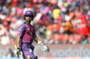 Ajinkya Rahane walks off after top-edging a full toss, Rising Pune Supergiant v Royal Challengers Bangalore, IPL 2017, Pune, April 29, 2017