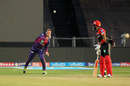 Lockie Ferguson throws to the striker's end to run Kedar Jadhav out, Rising Pune Supergiant v Royal Challengers Bangalore, IPL 2017, Pune, April 29, 2017