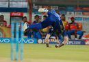 Kieron Pollard tumbles at mid-on to send back Suresh Raina, Gujarat Lions v Mumbai Indians, IPL, Rajkot, April 29, 2017