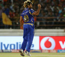 Lasith Malinga is pumped after dismissing Aaron Finch, Gujarat Lions v Mumbai Indians, IPL, Rajkot, April 29, 2017