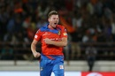 James Faulkner is pumped up after taking a wicket, Gujarat Lions v Mumbai Indians, IPL, Rajkot, April 29, 2017