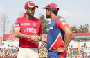 Glenn Maxwell and Karun Nair shake hands at the toss, Kings XI Punjab v Delhi Daredevils, IPL 2017, Mohali, April 30