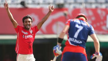 Sandeep Sharma celebrates after dismissing Sam Billings in the first over