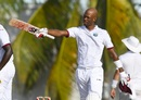 Roston Chase celebrates his second Test hundred, West Indies v Pakistan, 2nd Test, Bridgetown,1st day, April 30, 2017
