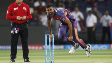 Jaydev Unadkat delivers the ball