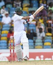 Binning the plan: Ahmed Shehzad attempts an aggressive shot during a defensive innings, West Indies v Pakistan, 2nd Test, Bridgetown,2nd day, May 1, 2017