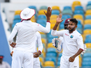 Devendra Bishoo picked up two of the three Pakistan wickets in the final session, West Indies v Pakistan, 2nd Test, Bridgetown,2nd day, May 1, 2017