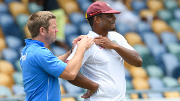 Shannon Gabriel gets some attention from the physio near the boundary