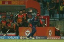The Sunrisers Hyderabad camp look on in anticipation as Sanju Samson fumbles a catch, Delhi Daredevils v Sunrisers Hyderabad, IPL 2017, Delhi, May 2, 2017