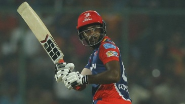 Sanju Samson looks on after glancing the ball fine