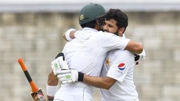 Azhar Ali celebrates his 13th Test century with his captain