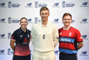 Heather Knight, Joe Root and Eoin Morgan pose at the launch of England's new kits, London, May 2, 2017