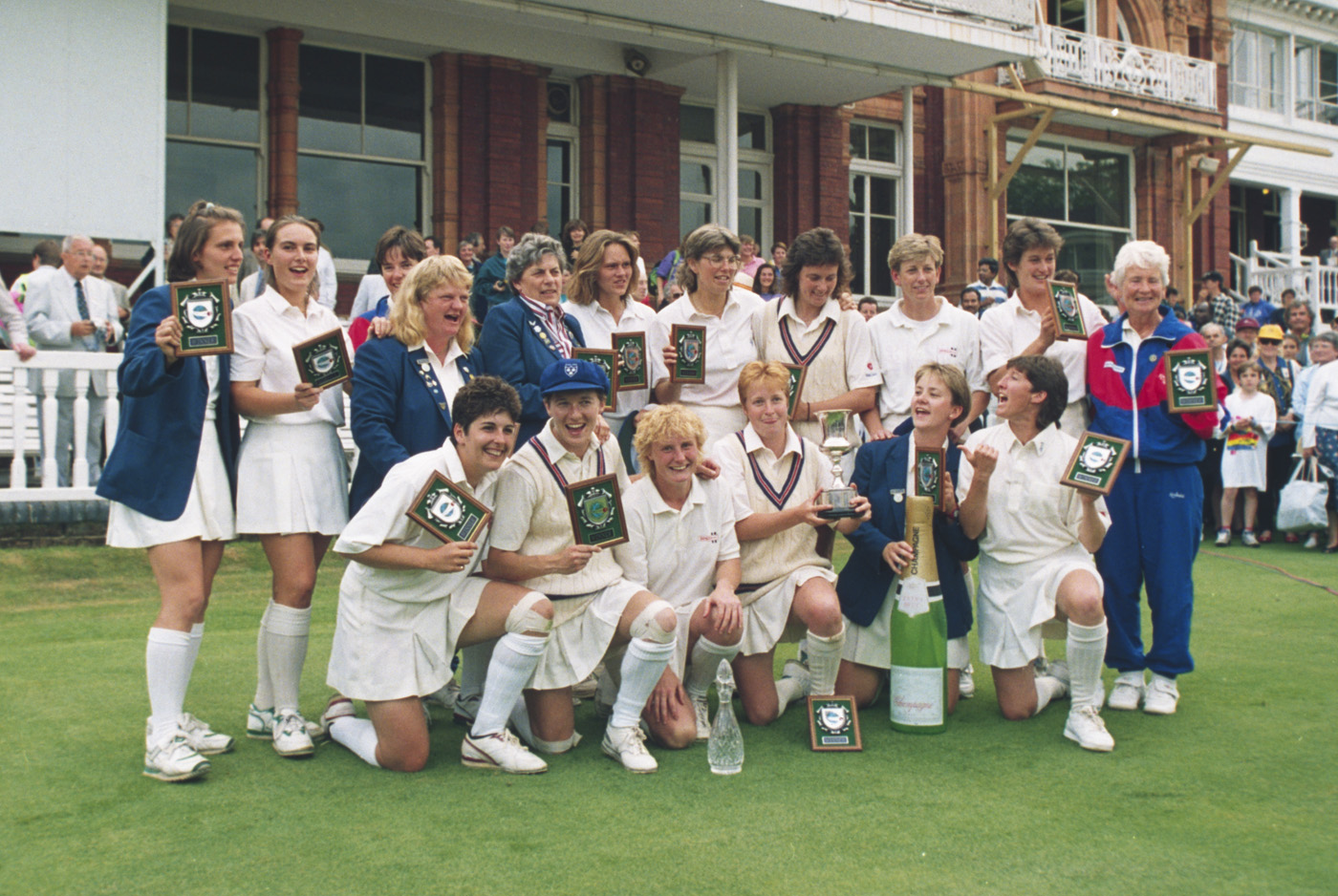 Class of '93: England women are all smiles after their triumph at Lord's. Coach Ruth Prideaux is at far right