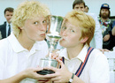Jo Chamberlain and Karen Smithies show the trophy some love, England v New Zealand, Women's World Cup final, Lord's, August 1, 1993