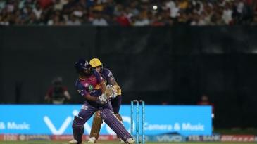 Rahul Tripathi scoops Sunil Narine for four