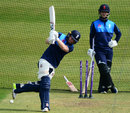 Eoin Morgan practises while Ben Duckett watches on, Bristol, May 4, 2017