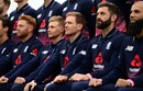 England players pose for a photograph before their training session, Bristol, May 4, 2017