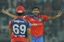 Basil Thampi was in disbelief after the umpire turned his appeal down, Delhi Daredevils v Gujarat Lions, IPL 2017, Delhi, May 4, 2017