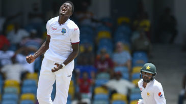 Alzarri Joseph can't believe his luck as Kieran Powell puts down a sitter at first slip