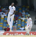 Alzarri Joseph can't believe his luck as Kieran Powell puts down a sitter at first slip, West Indies v Pakistan, 2nd Test, Bridgetown, 5th day, May 4, 2017