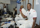 Shannon Gabriel poses with the match ball inside the dressing room, West Indies v Pakistan, 2nd Test, Bridgetown, 5th day, May 4, 2017