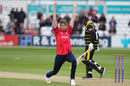 Matt Quinn celebrates the wicket of Gloucestershire's Jack Taylor, Essex v Gloucestershire, Royal London Cup, South Group, Chelmsford, May 4, 2017