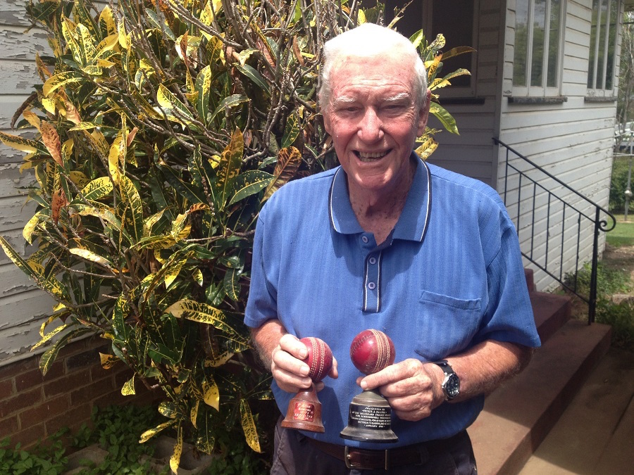 A ten-for in each hand: Peter Allan shows off the cricket balls with which he wreaked havoc