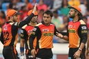 Yuvraj Singh is congratulated by his team-mates after Ajinkya Rahane was dismissed, Sunrisers Hyderabad v Rising Pune Supergiant, IPL 2017, Hyderabad, May 6, 2017