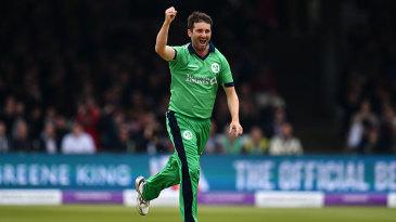 Tim Murtagh celebrates a wicket