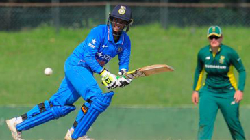 Deepti Sharma looks on after guiding the ball towards square leg