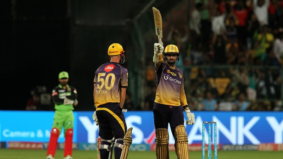 Sunil Narine raises his bat after smashing the joint-fastest fifty in IPL history