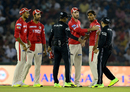 Glenn Maxwell tries to calm Sandeep Sharma down after the umpire made a contentious no-ball call, Kings XI Punjab v Gujarat Lions, IPL 2017, Mohali, May 7, 2017