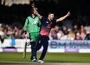 Mark Wood celebrates bowling William Porterfield, England v Ireland, 2nd ODI, Lord's, May 7, 2017
