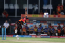 Siddarth Kaul in his follow through, Sunrisers Hyderabad v Mumbai Indians, IPL 2017, Hyderabad, May 8, 2017