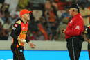 David Warner has a chat with umpire Marais Erasmus, Sunrisers Hyderabad v Mumbai Indians, IPL 2017, Hyderabad, May 8, 2017