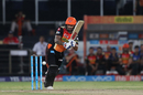 Shikhar Dhawan bunts one away to the leg side, Sunrisers Hyderabad v Mumbai Indians, IPL 2017, Hyderabad, May 8, 2017