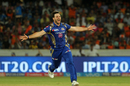 Mitchell McClenaghan is stoked on trapping David Warner in front, Sunrisers Hyderabad v Mumbai Indians, IPL 2017, Hyderabad, May 8, 2017